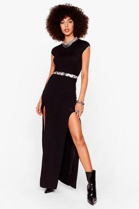 Nasty Gal Womens Take No Slit Relaxed Midi Dress - Black