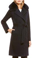 Katherine Kelly Fox Fur-Trim Notch Collar Wrap Coat