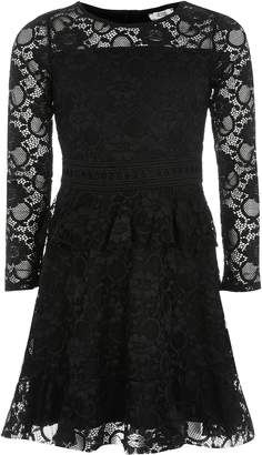 River Island Girls Black lace frill long sleeve dress