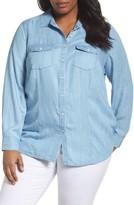 Foxcroft Plus Size Women's Dylan Woven Tencel Shirt
