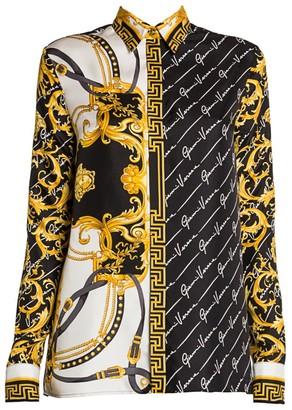 Versace Gianni Rodeo Silk Collared Blouse