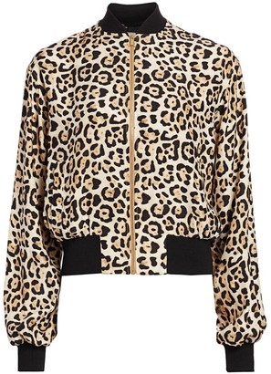 ATM Anthony Thomas Melillo Leopard-Print Silk Bomber Jacket