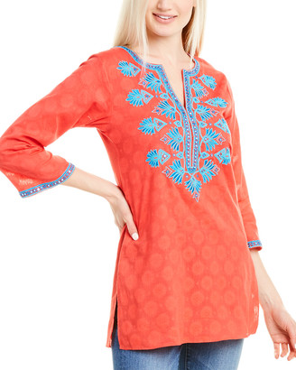 Sulu Collection Olivia Silk-Embroidered Tunic