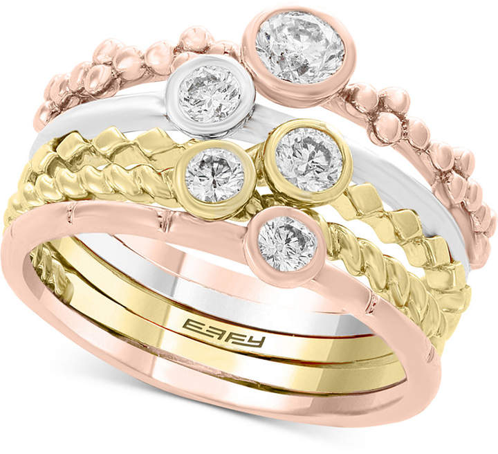 Effy 5 Pc. Set Diamond Tricolor Stacking Rings (5/8 ct. t.w.) in 14k Gold, White Gold & Rose Gold
