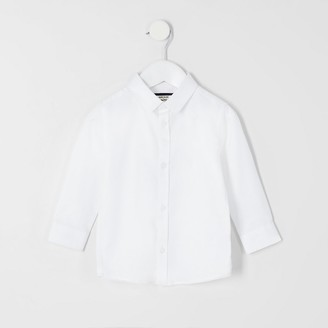 River Island Mini boys white RI long sleeve shirt