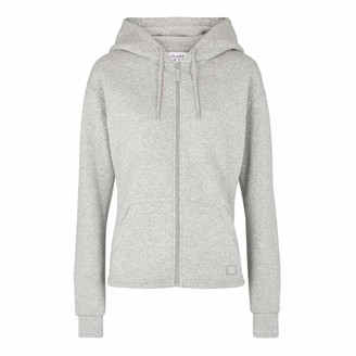 USA Pro Womens Zip Up Hoodie Ruched Waist Back (Grey Marl 8)