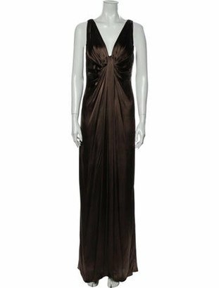 Lanvin V-Neck Long Dress Brown
