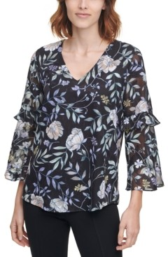 Calvin Klein Printed Sheer-Sleeve Top