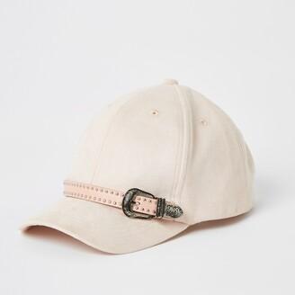 River Island Girls Pink suedette western buckle cap