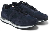 Moncler New Montego Shearling-lined Suede And Shell Sneakers