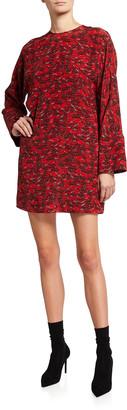 Valentino Printed Long-Sleeve Silk Shift Dress