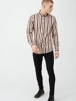 River Island Pink black stripe slim fit long sleeve shirt