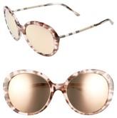 Burberry Women's 57Mm Check Temple Mirrored Round Frame Sunglasses - Dark Tortoise