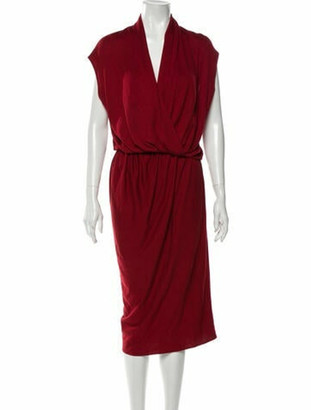 Lanvin Cowl Neck Midi Length Dress Red