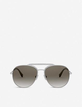 Miu Miu MU 53VS 57 aviator round-framed metal sunglasses