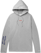 Vetements Embroidered And Printed Loopback Cotton-blend Jersey Hoodie - Gray