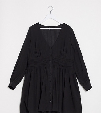 ASOS DESIGN Curve crinkle button through mini tea dress with ruched waist