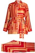 Katie Eary Geo-print silk-satin pyjama set