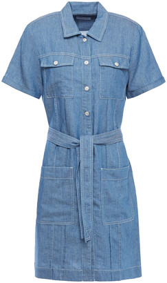 7 For All Mankind Tie-front Cotton-blend Chambray Mini Shirt Dress