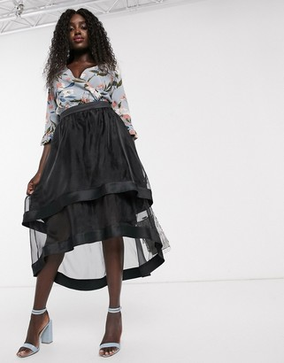 Chi Chi London high low organza midi skirt in black