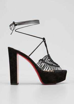Christian Louboutin Jani Woven Ankle-Wrap Red Sole Platform Sandals