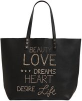 RED Valentino Letter Studs Grained Leather Tote Bag