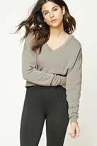 Forever 21 Heathered Cropped Fleece Hoodie
