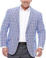 STAFFORD Stafford Linen Cotton Bright Blue Windowpane Sport Coat- Big and Tall