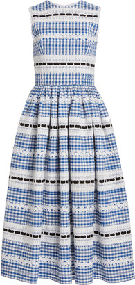 Carolina Herrera Checked Embroidered Cotton Midi Dress