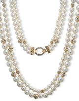 Anne Klein 8MM, 10MM, 12MM Faux Pearl Two-Row Collar Necklace