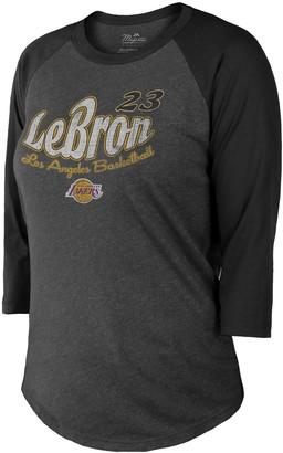 Majestic Women's Threads Black Los Angeles Lakers Lebron Graphic 3/4-Sleeve Tri-Blend Raglan T-Shirt