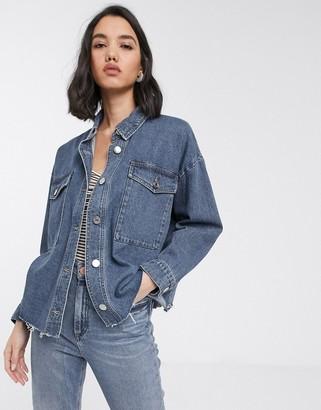 Only denim jacket with raw hem in blue