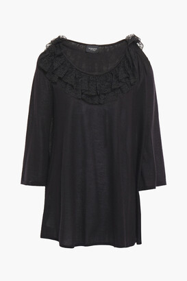 Giambattista Valli Lace-trimmed Ruffled Cashmere And Silk-blend Sweater