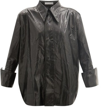 Palmer Harding Marcai Spearpoint-collar Faux-leather Shirt - Black