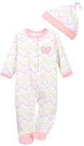 Offspring Chevron Footie & Hat Set (Baby Girls)