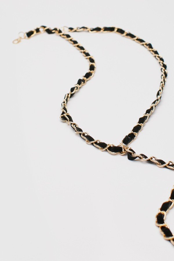 Thumbnail for your product : Nasty Gal Womens Faux Leather Woven Layered Chain Belt - Metallics - One Size