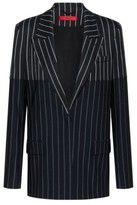 HUGO BOSS - Regular Fit Jacket With Mixed Vertical Stripes - Black