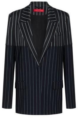 HUGO BOSS Regular Fit Jacket With Mixed Vertical Stripes - Black