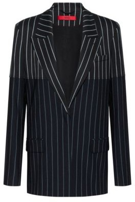 Regular-fit jacket with mixed vertical stripes