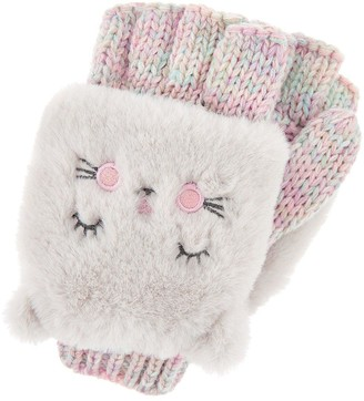 Accessorize Girls Fluffy Cat Capped Mittens - Pink