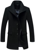 Oncefirst Men's Stand Color Single Breastd Wool Trench Coat 2XL