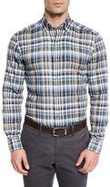 Ermenegildo Zegna Plaid Long-Sleeve Sport Shirt, Blue Pattern