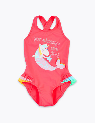Marks and Spencer Mermicorns are Real' Slogan Swimsuit (2-7 Years)