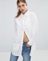 Daisy Street Longline Shirt With Pockets