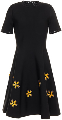 Oscar de la Renta Flared Embellished Stretch-ponte Mini Dress