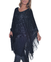 Paparazzi Black Paisley Burn-Out Fringe Poncho