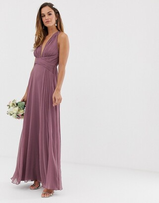 Asos Design DESIGN Bridesmaid ruched bodice drape maxi dress with wrap waist-Purple