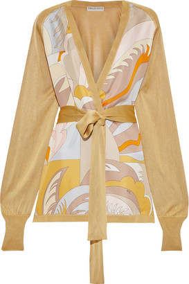 Emilio Pucci Belted Printed Twill-paneled Stretch-knit Cardigan