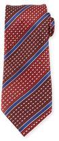 Ermenegildo Zegna Stitched Stripe Silk Tie, Red