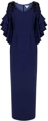 Pamella Roland Navy Sequin-embellished Gown